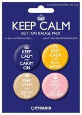 New Keep Calm Pin Badges 4PK Carry On Drink Tea Buy Shoes Eat a Cupcake