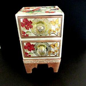Punch Studio Decorative Keepsake Chest of Drawers Box Butterflies Flowers Empty