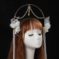 Vintage Costume Halo Crown Headband Wedding Beads Tassel Chain Hair Hoop
