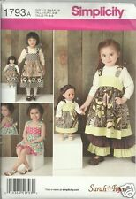 "S1793 Child's Dress Pants and Shorts & 18"" Doll Dress Simplicity Sewing Pattern"