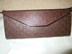 Gucci Monogram Brown leather Glasses Sunglasses Triangular Protective Case New