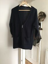 Marks and Spencer Limited Collection Blue Chunky Knit V Neck Zip Cardigan (g2)