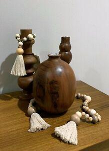 Hearth Hand Magnolia SET 3 Wooden Vases (Bud Vase w Glass Insert) 2 Wood Garland