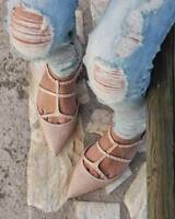 Zara Nude Shiny Pointy Diamante Stud Sandals in Size 5