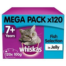120 x 100g Whiskas 7+ Senior Wet Cat Food Pouches Mixed Fish in Jelly Pouches