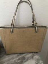 Tory Burch Large Straw Tote With Gold Metallic Leather NWOT