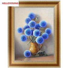 DIY 5D Drill Partial Diamond Painting Kits Blue Flowers Home Decor Cross Stitch