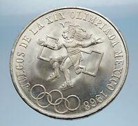 1968 Mexico XIX Olympic Games Aztec Ball Player BIG 25 Pesos Silver Coin i65584