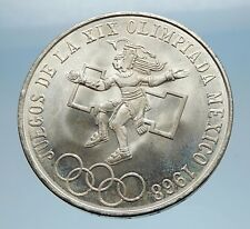 1968 Mexico XIX Olympic Games Aztec Ball Player BIG 25 Pesos Silver Coin i65584