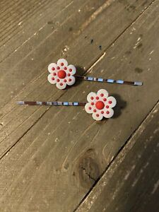 White or Red Flower with polka dots Hair clips (a pair)