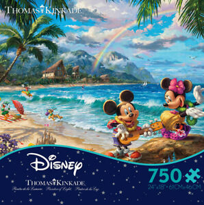 "Thomas Kinkade ""MIckey and Minnie Mouse in Hawaii"" Jigsaw Puzzle 750 Pc Disney"
