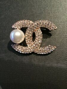 Pearl & Crystal Gold  BROOCH runway statement couture baroque european paris