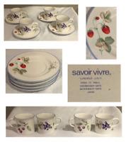 VINTAGE 16-Piece Savoir Vivre Dinnerware LUSCIOUS # JJ017 Japan Cups and Saucers