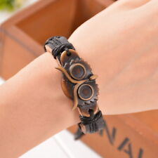 1PC New Men Punk Vintage Leather Handmade Owl Black Bracelet Chains