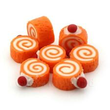 5x Miniatura Para Casa De Muñecas Naranja y Crema Mini ROLLITOS