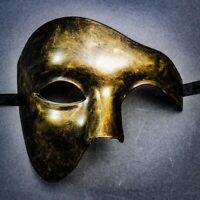 Half Face Phantom Of The Opera Venetian Metallic Gold Masquerade Costume Mask
