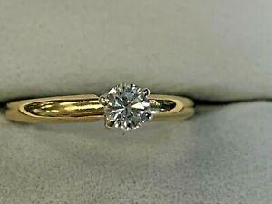 MAGIC GLO 14K YELLOW GOLD ESTATE  DIAMOND LADIES ENGAGEMENT  RING