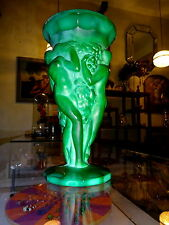Bohemian Czech Art Deco Malachite Glass Vase Nude Grapes Frantisek Pazourek