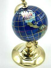 "Mini Lapis Stone Inlay World Globe 6 "" Brass Stand desk top rotating Earth"
