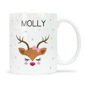 Personalised Christmas Mug CHRISTMAS HEAD GIRL DEER Christmas Eve Box Filler