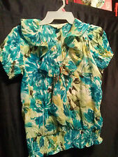 Allison Taylor Scrunch Ruffle Front Top S
