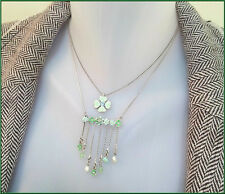 PILGRIM SILVER PLATED NECKLACE SWAROVSKI CRYSTALS ENAMEL DAISY FLOWERS PEARLS