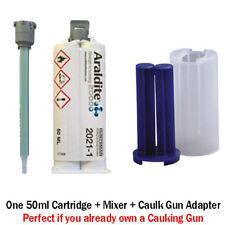 Araldite 2021 Toughened 5-Min MMA Multi-Use Adhesive-50ml + Caulk Gun Adapter