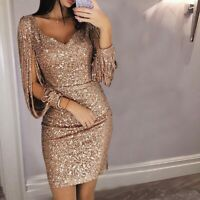 US Women Deep V Sequined Long Sleeve Bodycon Party Cocktail Evening Mini Dress