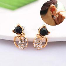 1 Pair Women Lady Rhinestone Bowknot Kitten Earring Cute Cat Ear Stud Gift