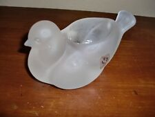 """ITALY~VETRERIA ETRUCKA~ FROSTED GLASS BIRD~CANDLE HOLDER`STICKER~4.5""""L X 3""""H"""