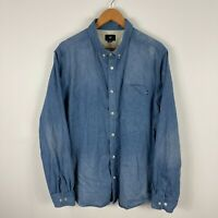 Obey Mens Button Up Shirt 2XL Blue Denim Long Sleeve Collared