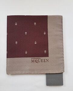 NEW Alexander McQueen Pocket Square Skull Polka-Dots Handkerchief Burgundy/Silve