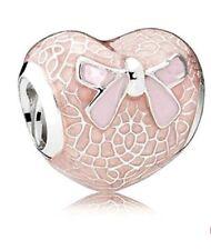 Charms charm compatibili Pandora Brosway - cuore pizzo fiocco rosa
