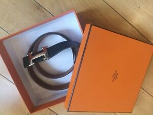 Authentic Hermes H Men's Reversible Black Tan Leather Belt 95cm