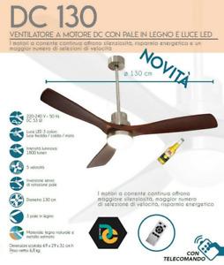 Ventilatore a soffitto legno motore DC 53w DM130 3 pale 5 velocita timer ev087