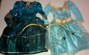Disney Store Princess Merida dress (2) costume Brave size 4 with wig BOW