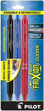Pilot Frixion Ball Clicker Erasable Gel Ink Pens Fine 0.7mm Retractable 3 Colors