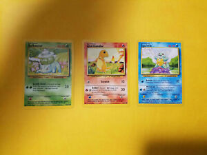 Pokemon Card Base Set Starters Bulbasaur Charmander Squirtle Near Mint 1999 WOTC