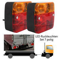 2 x TRAILER TRUCK VAN LED REAR TAIL LIGHT MULTI-FUNCTION and 7 PIN PLUG 10M WIRE