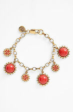 NEW Tory Burch Winslow Logo Charm Bracelet in Gold and Cherry Amber.