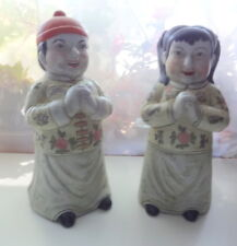 Antique Boy Girl Chinese Clothes 2 Figurines Good Luck Prayers Statue Porcelain