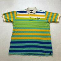 Coogi Striped Polo Shirt Size XL Multi Color Collared Embroidered Hip Hop Mens