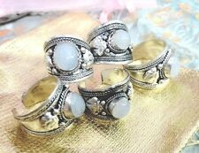 Old Tibet Silver white moonstone Ring Adjustable size Religion one pieces