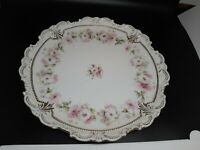 """Antique floral plate in good condition molded scalloped gilded edges 9.5"""""""