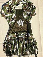 Spangled camouflage Army Girl. follows Gi Joe cosplay costume, size L 10-12.