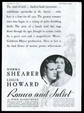 1936 Norma Shearer Leslie Howard photo Romeo and Juliet movie vintage print ad