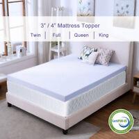 Memory Foam Mattress Topper 2.5''/3''/4'' Queen King Twin Full Size Lavender Gel