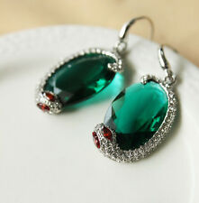 earrings Silver End Snake Animal CZ Green Red Emerald Original L6