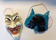 Vintage 1960s Batman and Joker Face Masks