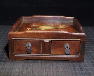 "8"" China Wood Box natural Rosewood Box drawer inlay shell Flower bird"